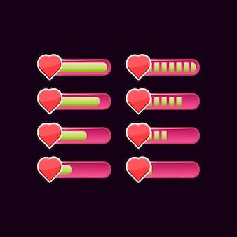 Conjunto de barra de progresso de saúde da interface do usuário do jogo rosa casual