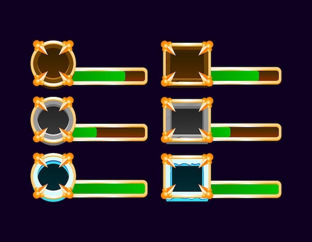 Conjunto de barra indicadora de gui de madeira, pedra e gelo medieval com moldura dourada para elementos de recursos de interface do usuário do jogo