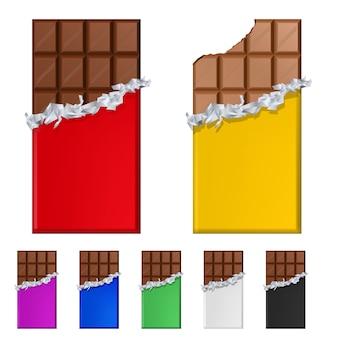 Conjunto de barras de chocolate em embalagens coloridas