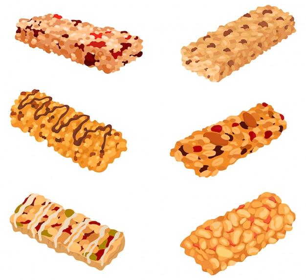 Conjunto de barras de muesli. coleção dos lanches saudáveis certos. produto com aveia.