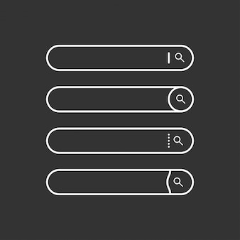 Conjunto de barras de pesquisa. elementos de design web plana. modelos para site