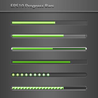 Conjunto de barras de progresso verde vetoriais