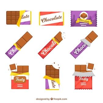 Conjunto de barras e pedaços com diferentes chocolates