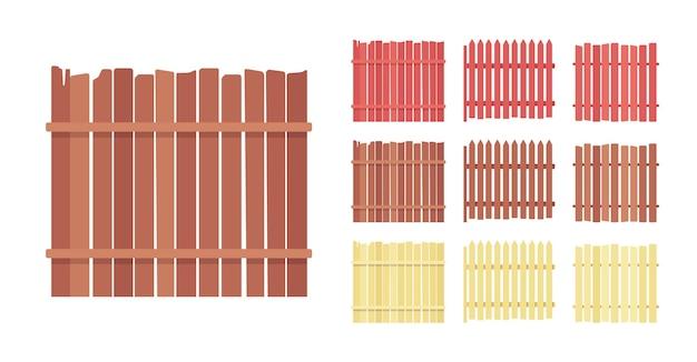 Conjunto de barreira de cerca de madeira, elemento de proteção da casa e da terra