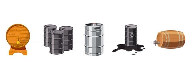 Conjunto de barril. conjunto de desenhos animados de barril