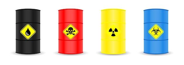 Conjunto de barris de metal, óleo sinaliza perigo tóxico e morte