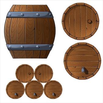 Conjunto de barris e caixas de madeira.