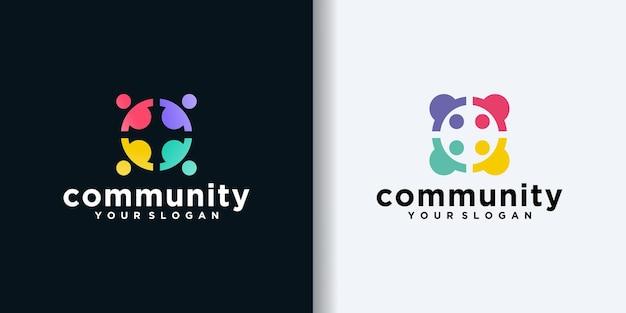 Conjunto de base de pessoas e logotipo da comunidade