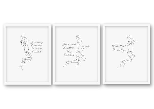 Conjunto de basquete de uma linha, ilustração de estoque de pôster