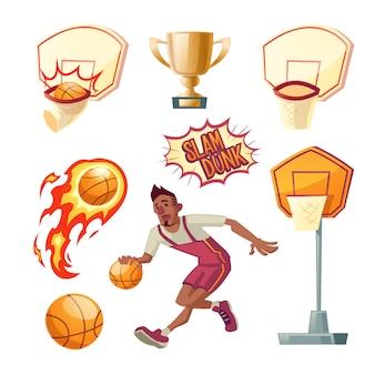 Conjunto de basquete - esportista atlético em uniformes com bola laranja, cestas diferentes