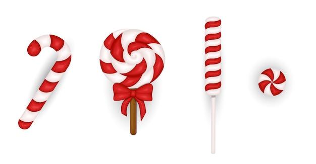 Conjunto de bastão de doces de natal realista. modelo de cartão de felicitações no natal e ano novo