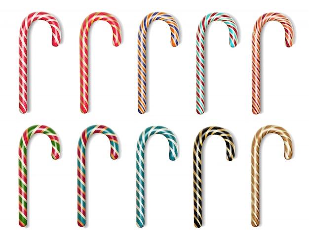 Conjunto de bastões de doces. ilustração realista das ações
