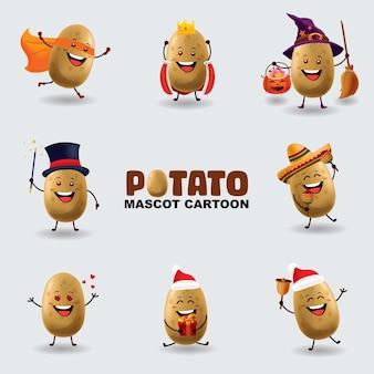 Conjunto de batata mascote em várias poses