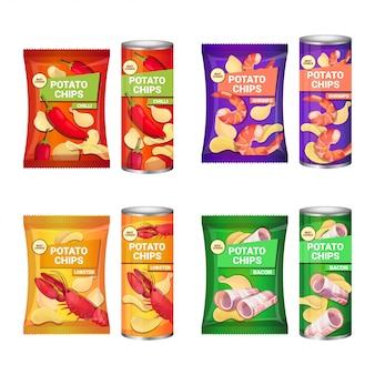 Conjunto de batatas fritas com sabores diferentes, composição de publicidade da coleção de batatas fritas e embalagens