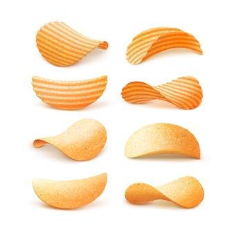 Conjunto de batatas fritas crocantes de ondinha de batata isolado no branco