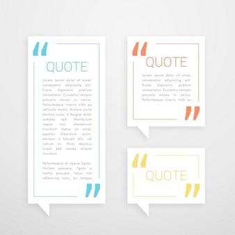 Conjunto de bate-papo bolha três citação em branco estilo minimalista