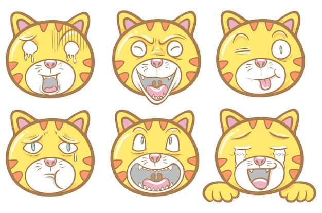 Conjunto de bate-papo de adesivo de ilustração de emoticons de gato bonito