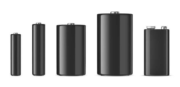 Conjunto de bateria alcalina branca realista tamanho diferente aaa aa cd pp3 modelo de modelo de design