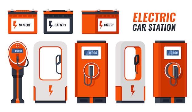 Conjunto de bateria de carro, estação de recarga de carro elétrico