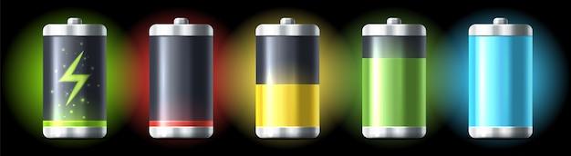 Conjunto de bateria isolada com carga baixa e meia carga