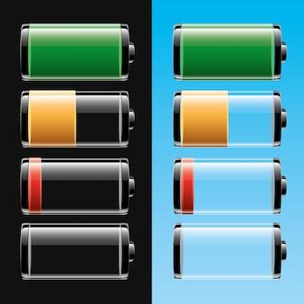 Conjunto de baterias com níveis de carga diferentes em preto e azul claro