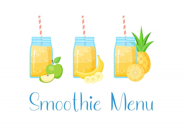 Conjunto de batidos de fruta natural smoothie
