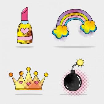 Conjunto de batom e arco-íris com nuvens e bomba com coroa