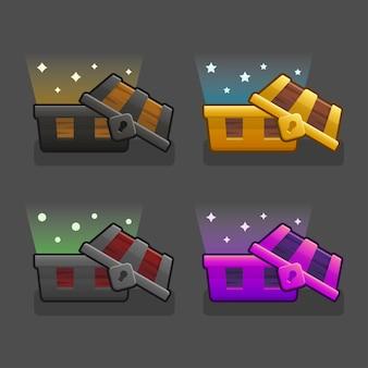 Conjunto de baú de tesouro com efeitos abertos de ilustração colorida