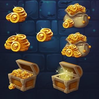 Conjunto de baús de madeira com moedas para a interface do usuário do jogo.