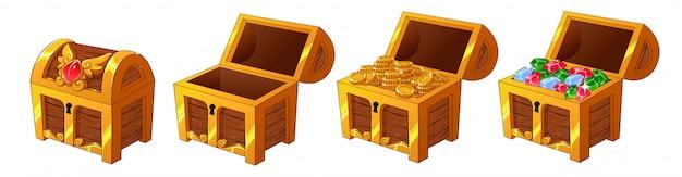 Conjunto de baús de madeira dourados com moedas e diamantes para a interface do jogo.
