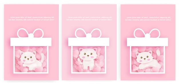 Conjunto de bebê chuveiro cartões e cartões de aniversário com gato bonito no papel cortado atyle.