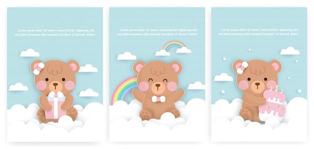 Conjunto de bebê chuveiro cartões e cartões de aniversário com urso fofo e bolo.