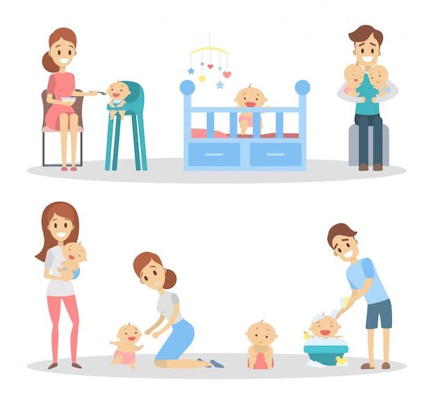 Conjunto de bebê com pais. alimentando e brincando com o bebê.
