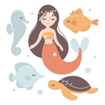 Conjunto de bebê com sereia, peixe, cavalo-marinho, tartaruga marinha e bolhas