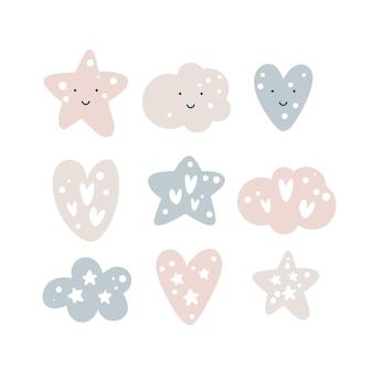 Conjunto de bebê de vetor de lindo berçário engraçado sorrindo estrelas, lindos corações e nuvens fofas.