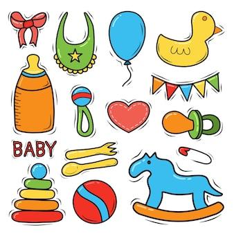 Conjunto de bebê desenhado à mão e doodle recém-nascido para banner de ícone