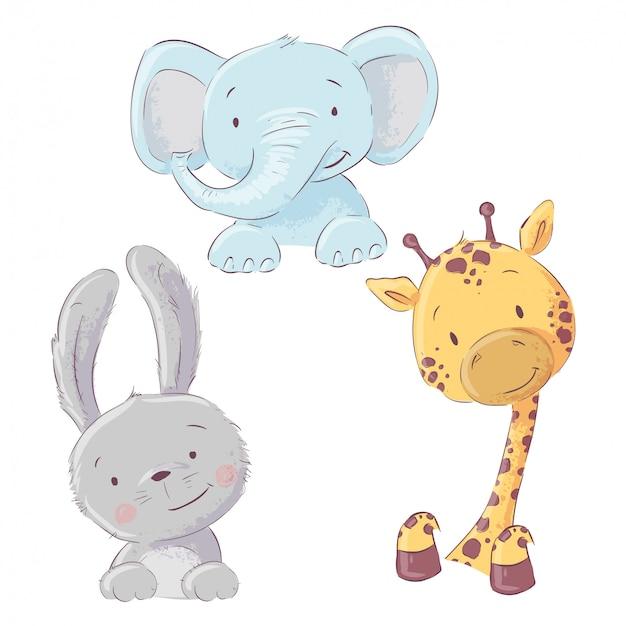 Conjunto de bebê elefante coelho e girafa. estilo dos desenhos animados. vetor