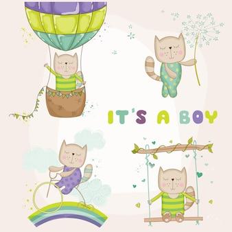 Conjunto de bebê gato para chá de bebê