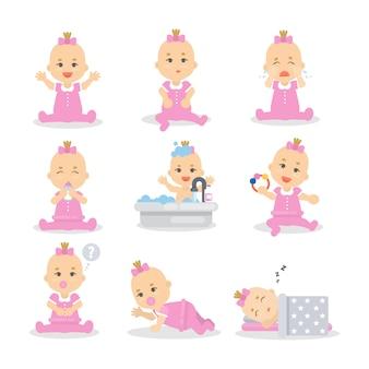 Conjunto de bebê menina. filho bonito em rosa dormindo, brincando e comendo.