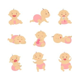 Conjunto de bebê menina. lindo bebê na fralda rosa.