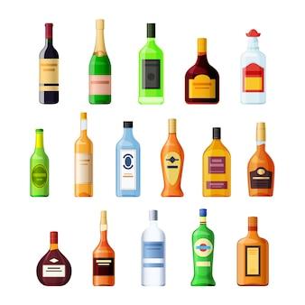 Conjunto de bebida alcoólica de garrafa de vidro vazia