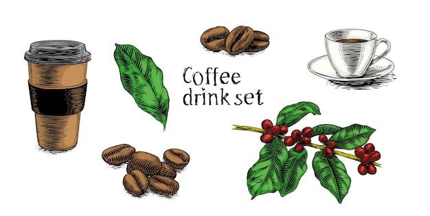 Conjunto de bebida de café (xícaras, planta, grãos de café)