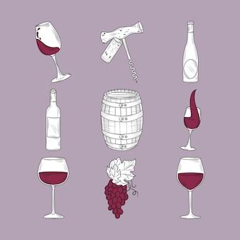 Conjunto de bebida de vinho