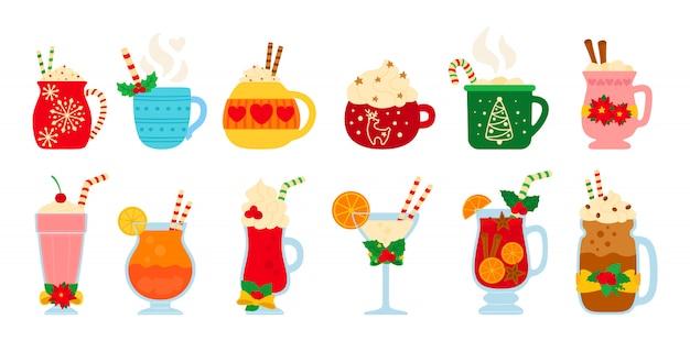 Conjunto de bebida quente de natal. bebidas diferentes dos desenhos animados plana. ano novo bebe. canecas fofas chocolate quente, café, leite, creme e vinho quente