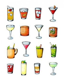 Conjunto de bebidas alcoólicas. copo de coquetéis. conjunto de gravura vintage isolado.