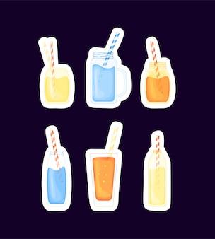 Conjunto de bebidas alcoólicas tropicais e coquetéis de frutas em um estilo bonito dos desenhos animados. festa na praia.