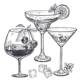 Conjunto de bebidas alcoólicas.