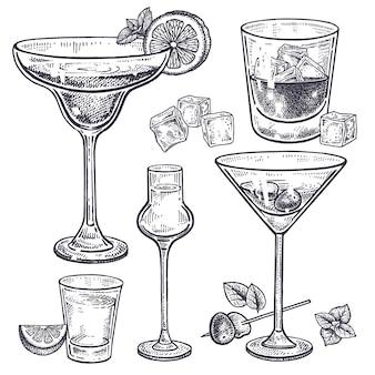 Conjunto de bebidas alcoólicas. Vetor Premium