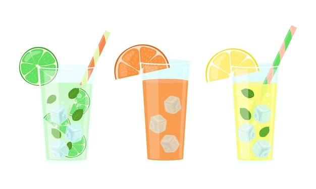 Conjunto de bebidas cítricas. limonada, suco de laranja e mojito em copos isolados. ilustração vetorial.