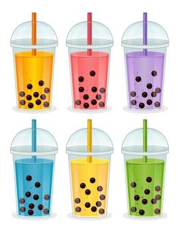 Conjunto de bebidas com bolhas e tapioca